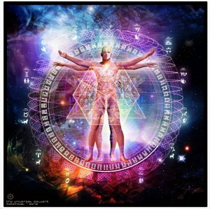 The universal human being - energetic body and chakras in space